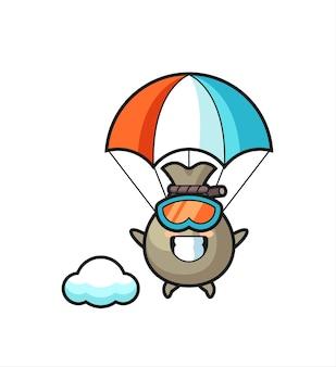 Денежный мешок талисман мультфильм прыжки с парашютом со счастливым жестом