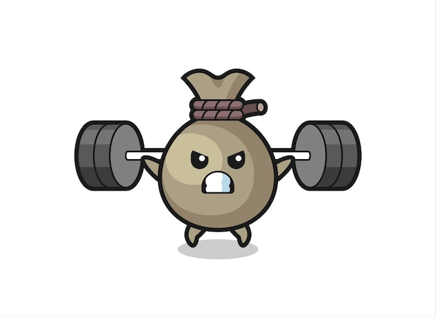 Money sack mascot cartoon with a barbell , cute style design for t shirt, sticker, logo element
