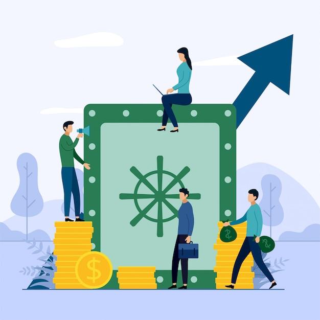Money saving business concept Premium Vector