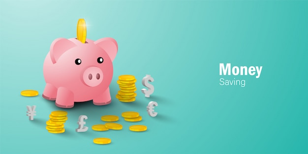 Money saving concept, putting a coin into piggy bank among coin and currency sign
