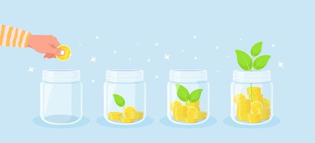 돈 절약 개념입니다. 손은 저축을 위해 항아리에 동전을 넣습니다. 돈에서 자라는 녹색 식물. 소득 성장. 재정적 저축이 증가합니다. 투자