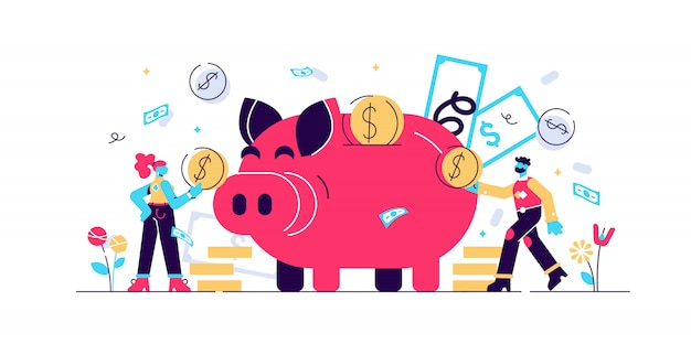 Money saving illustration. flat tiny persons concept with budget piggy bank. financial wealth symbol with cash money from savings. investment success and safe economical fund deposit strategy.