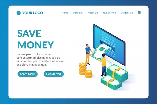 Money saving isometric website landing page template