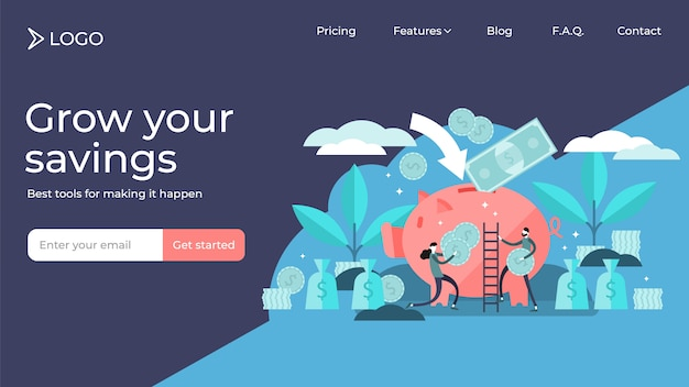 Money saving tiny persons vector illustration landing page template design.