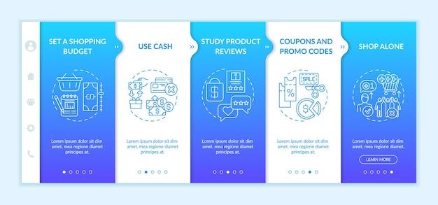 テンプレートをオンボーディングする買い物客のためのお金を節約するためのヒント。予算の設定。現金を使う。一人で買い物。アイコン付きのレスポンシブモバイルウェブサイト。 webページのウォークスルーステップ画面。色の概念