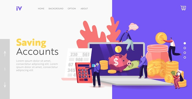 Money savings account, finance, budget or deposit landing page template. tiny male and female characters put golden coins into huge piggy bank on laptop screen. cartoon people vector illustration