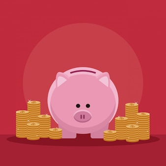 Money savings and investment piggy with coins