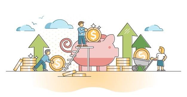 貯金箱の概要の概念における金融現金スタック預金としてのお金の節約。収益と収入のイラストを使用した経済的なバックアップの保存。金融の安定方法と戦略シーン。
