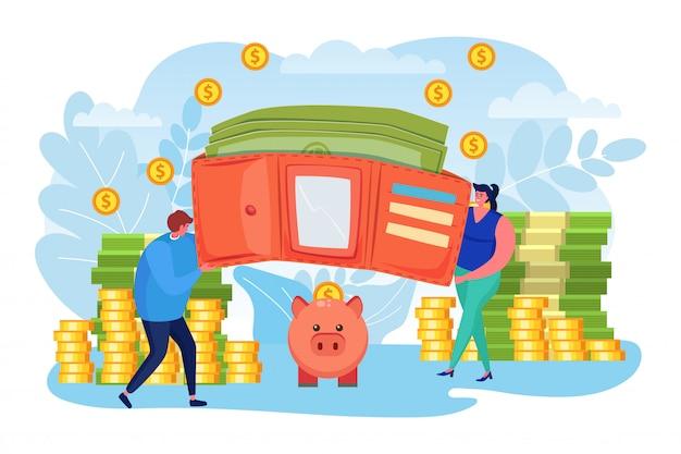Сбережения денег, иллюстрация финансов дела. наличные деньги и монета в кошелек, инвестиционная концепция. люди мужчина женщина персонаж