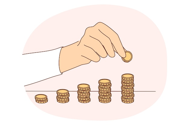 Money savings, coins, budget concept. hands of person making stacks of golden coins on table