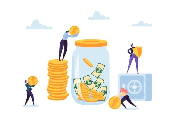 お金の節約の概念。銀行口座にお金を投資するビジネスマンのキャラクター。貯金箱、貸金庫、銀行。
