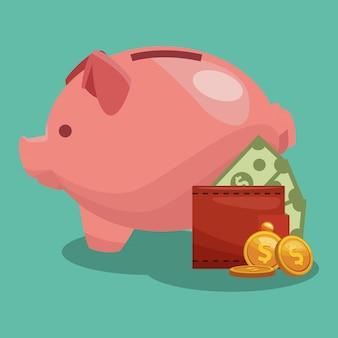 Money savings inside piggy