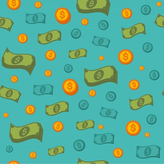 Money seamless pattern with coins and banknotes