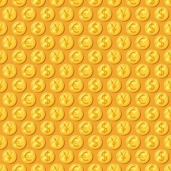 お金。シームレスなパターン。