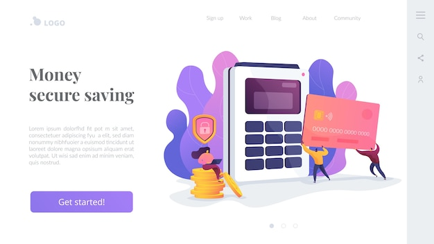 Money secure saving landing page template