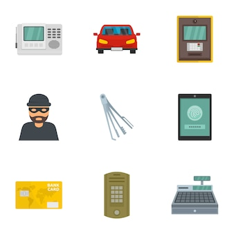 Money security icon set. flat set of 9 money security vector icons