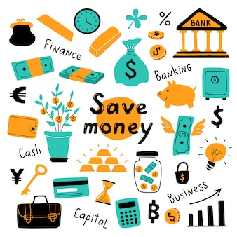 Money set, business symbols and financial elements.