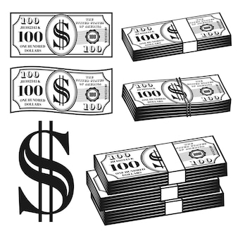 Money set of different variants objects or elements