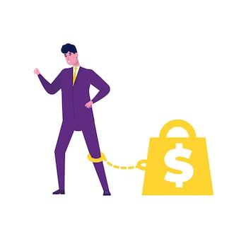 フラットなデザインのお金の奴隷制の概念