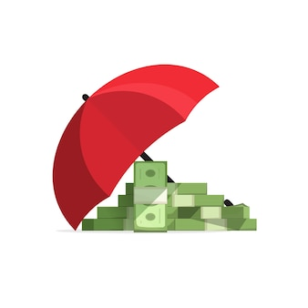Money stack insured coverage with umbrella,  of money protected