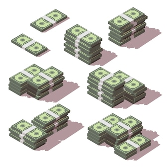 Money stacked with different sides icons set