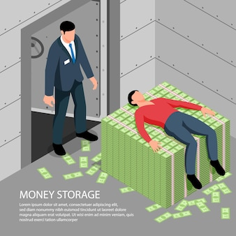 Money storage with bank employee watching client lying on pile of banknotes illustration
