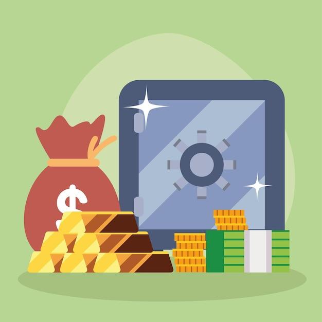 Деньги strongbow золотые слитки монеты счета и сумка
