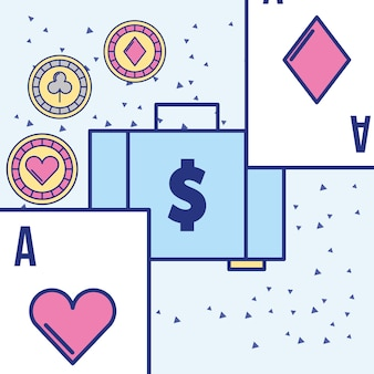 Money suitcase casino card aces and chips