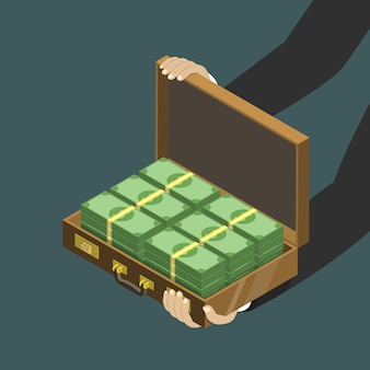 Money in the suitcase flat isometric concept