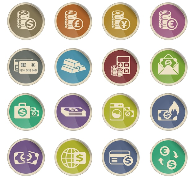 Money symbols vector icons in the form of round paper labels