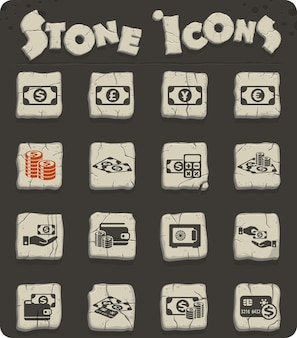 Money symbols vector icons for web and user interface design
