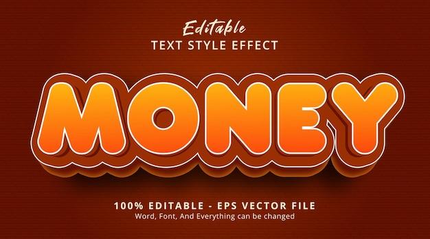 Денежный текст на современном эффекте стиля градиента, редактируемый текстовый эффект