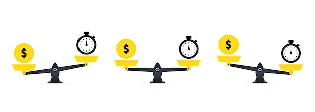 Money and time balance on scale