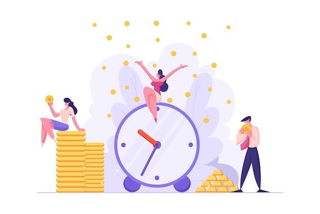 Концепция времени деньги с будильником и иллюстрацией деловых людей