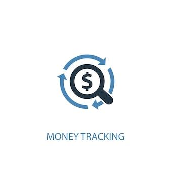 Концепция отслеживания денег 2 цветной значок. простой синий элемент иллюстрации. дизайн символа концепции отслеживания денег. может использоваться для веб- и мобильных ui / ux