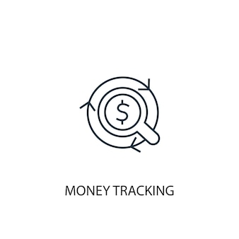 Money tracking concept line icon. simple element illustration. money tracking concept outline symbol design. can be used for web and mobile ui/ux