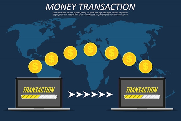 Money transaction around world, business, mobile banking and mobile payment. two laptops on a world map