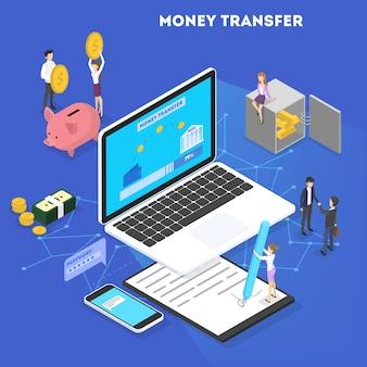 돈 거래 개념. 모바일 장치를 통한 온라인 송금 및 결제. 모바일 은행의 재무 운영. 아이소 메트릭 그림