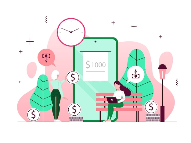 Money transaction concept. online transfer and payment through the smart phone. financial operations in mobile bank.   illustration