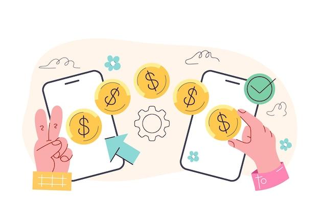 Процесс транзакции денег с телефона на телефон концепции векторная плоская изолированная иллюстрация современного стиля