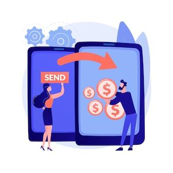 Illustrazione di concetto astratto di trasferimento di denaro