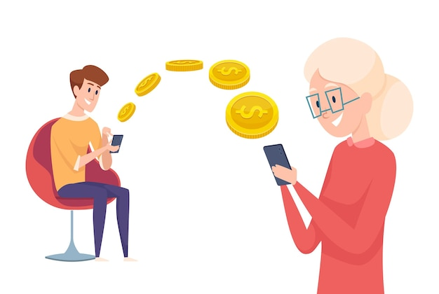 Money transfer. boy send pay with phone. financial assistance to parents or grandmother  concept.