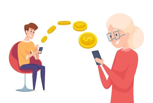 送金。少年は電話で支払いを送ります。親または祖母の概念への財政援助。