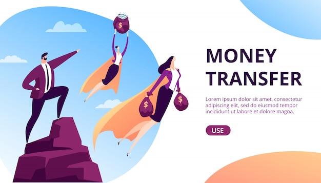 돈 전송 개념 그림입니다. 현금, 인터넷 배경에서 온라인 은행 지불 비즈니스 금융 영웅 캐릭터. 은행 담당자, 서비스 및 지불 기술.