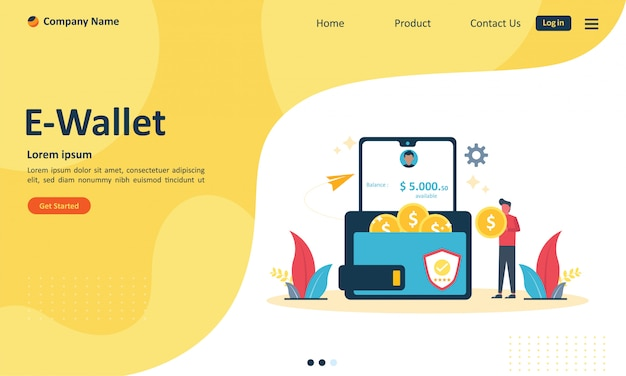 Money transfer to e-wallet concept for web landing page