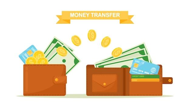 Перевод денег из кошелька и в кошелек. кошелек с наличными, долларовая купюра, кредитная или дебетовая карта, поток монет. банковские электронные транзакции, инвестиции. кэшбэк, концепция вознаграждения. плоский дизайн