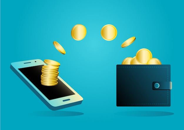 Money transfer from wallet into mobile phone