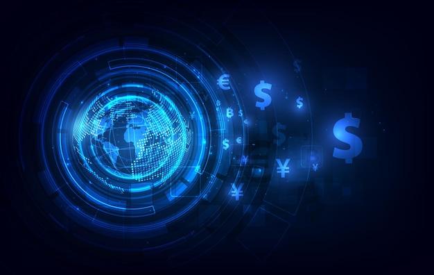 Перевод денег. мировая валюта. фондовая биржа. складе векторные иллюстрации.