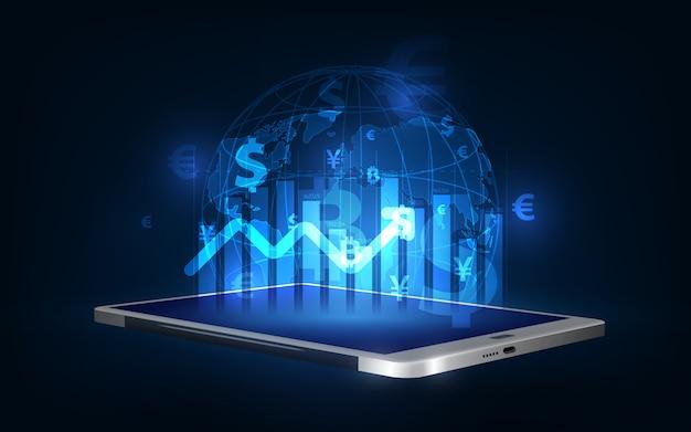 송금. 글로벌 통화. 증권 거래소