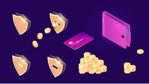 Money transfer icons isometric
